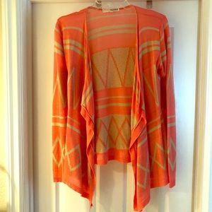Coral and cream Aztec print open cardigan sweater